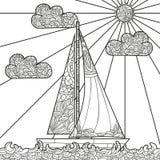 Βάρκα Doodle που επιπλέει στα κύματα Στοκ εικόνες με δικαίωμα ελεύθερης χρήσης