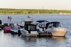 Βάρκες έπειτα το moorage Στοκ Φωτογραφία