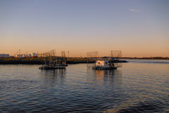 Βάρκες γαρίδων της Λουιζιάνας στοκ εικόνες