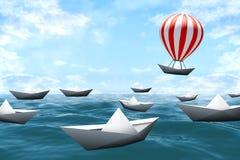 Βάρκες εγγράφου με το μπαλόνι Στοκ φωτογραφία με δικαίωμα ελεύθερης χρήσης