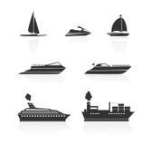 Βάρκες και εικονίδια σκαφών καθορισμένα απεικόνιση αποθεμάτων