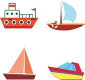 Βάρκες και σκάφη κινούμενων σχεδίων - απομονωμένο επίπεδο διάνυσμα που τίθεται με τα εικονίδια Στοκ Εικόνες