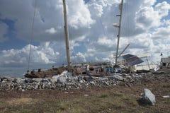 Βάρκες και συντρίμμια από τον τυφώνα Irma Στοκ φωτογραφία με δικαίωμα ελεύθερης χρήσης