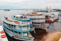 Βάρκες μεταφορών στο Manaus, Βραζιλία Στοκ Εικόνες