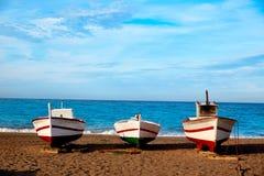 Βάρκες παραλιών της Αλμερία Cabo de Gata SAN Miguel Στοκ Εικόνες