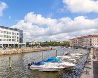 Βάρκες που δένονται στο κεντρικό Γκέτεμπουργκ Στοκ Εικόνα