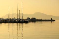 Βάρκες στην αυγή, Μαγιόρκα, Ισπανία Στοκ Εικόνες