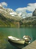 Βάρκες στη λίμνη O'hara, εθνικό πάρκο Yoho Στοκ φωτογραφία με δικαίωμα ελεύθερης χρήσης