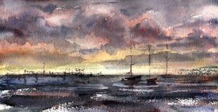 Βάρκες στον κόλπο, τον ουρανό και τη θάλασσα υψηλό watercolor ποιοτικής ανίχνευσης ζωγραφικής διορθώσεων πλίθας photoshop πολύ Στοκ φωτογραφία με δικαίωμα ελεύθερης χρήσης