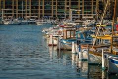 Βάρκες στο ηλιοβασίλεμα στη Μασσαλία Στοκ Φωτογραφία