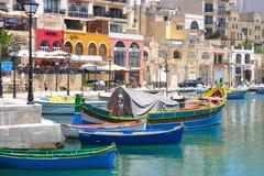 Βάρκες στο λιμάνι, Μάλτα Στοκ Φωτογραφία