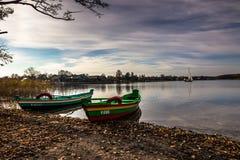 Βάρκες στο λιμάνι του Τρακάι, Λιθουανία Στοκ εικόνα με δικαίωμα ελεύθερης χρήσης