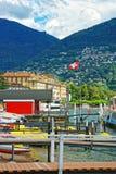 Βάρκες στο προσγειωμένος στάδιο στο Λουγκάνο σε Ticino στην Ελβετία Στοκ εικόνες με δικαίωμα ελεύθερης χρήσης
