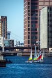 Βάρκες στο Canary Wharf στοκ φωτογραφία με δικαίωμα ελεύθερης χρήσης