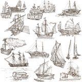 Βάρκες - σχέδια χεριών, πρωτότυπα Στοκ Εικόνες