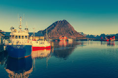 Βάρκες της Shing στο λιμάνι στον ήλιο μεσάνυχτων στη βόρεια Νορβηγία, Lofote Στοκ φωτογραφία με δικαίωμα ελεύθερης χρήσης