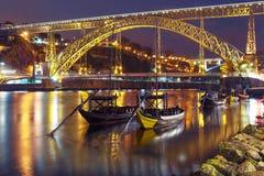 Βάρκες Rabelo στον ποταμό Douro, Πόρτο, Πορτογαλία Στοκ Φωτογραφίες