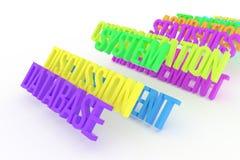 Βάση δεδομένων, επιχειρησιακές εννοιολογικές ζωηρόχρωμες τρισδιάστατες λέξεις Μήνυμα, ψηφιακός, γραφικός & επικοινωνία απεικόνιση αποθεμάτων