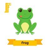 Βάτραχος Επιστολή Φ Χαριτωμένο ζωικό αλφάβητο παιδιών στο διάνυσμα Αστείο γ ελεύθερη απεικόνιση δικαιώματος