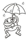 Βάτραχος και ομπρέλα, χρωματισμός Στοκ Εικόνες