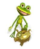 Βάτραχος με τη piggy τράπεζα Στοκ Εικόνα