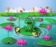 Βάτραχος στη λίμνη διανυσματική απεικόνιση