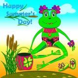 Βάτραχος στη λίμνη ελεύθερη απεικόνιση δικαιώματος