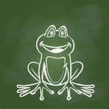 Βάτραχος σχεδίων χεριών στον πράσινο πίνακα - διανυσματική απεικόνιση Στοκ εικόνες με δικαίωμα ελεύθερης χρήσης