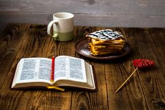 Βάφλες και τσάι Στοκ Φωτογραφίες