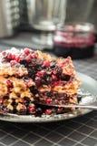 Βάφλες με τη μαρμελάδα και cowberry βακκινίων Στοκ φωτογραφία με δικαίωμα ελεύθερης χρήσης
