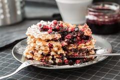 Βάφλες με τη μαρμελάδα και cowberry βακκινίων Στοκ Φωτογραφία