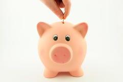 Βάλτε ένα νόμισμα σε μια piggy τράπεζα Στοκ φωτογραφία με δικαίωμα ελεύθερης χρήσης