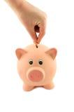 Βάλτε ένα νόμισμα σε μια piggy τράπεζα Στοκ φωτογραφίες με δικαίωμα ελεύθερης χρήσης