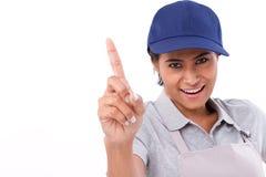 Βέβαια γυναίκα εργαζόμενος που παρουσιάζει μια χειρονομία δάχτυλων Στοκ φωτογραφίες με δικαίωμα ελεύθερης χρήσης