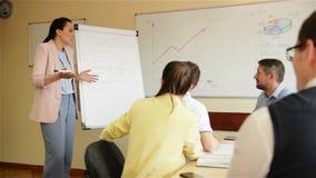Βέβαια επιχειρηματίας που παρουσιάζει σχεδίων για το flipchart στους συναδέλφους στην αίθουσα συνεδριάσεων Εκτελεστική παρουσίαση απόθεμα βίντεο