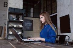 Βέβαια συγκεντρωμένη νέα γυναίκα που εργάζεται στο lap-top καθμένος στο δημιουργικό εστιατόριο στοκ εικόνες