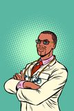 Βέβαιος αφρικανικός γιατρός ιατρικό επάγγελμα απεικόνιση αποθεμάτων
