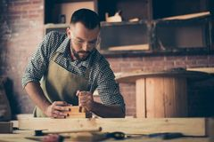 Βέβαιος επιτυχής συγκεντρωμένος ταλαντούχος γενειοφόρος woodworker θρόμβος στοκ εικόνα
