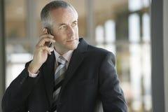 Βέβαιος επιχειρηματίας που χρησιμοποιεί το τηλέφωνο κυττάρων Στοκ φωτογραφίες με δικαίωμα ελεύθερης χρήσης