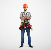 Βέβαιος εργάτης με τα εργαλεία Στοκ φωτογραφίες με δικαίωμα ελεύθερης χρήσης