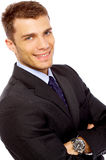 Βέβαιος νέος επιχειρηματίας στο άσπρο υπόβαθρο Στοκ Εικόνα