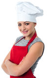 Βέβαιος νέος θηλυκός μάγειρας Στοκ φωτογραφία με δικαίωμα ελεύθερης χρήσης