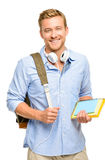 Βέβαιος νέος σπουδαστής πίσω στο σχολείο στο άσπρο υπόβαθρο Στοκ φωτογραφία με δικαίωμα ελεύθερης χρήσης