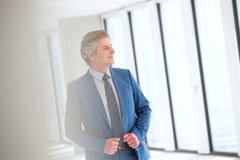 Βέβαιος ώριμος επιχειρηματίας που κοιτάζει μακριά στο νέο γραφείο Στοκ φωτογραφία με δικαίωμα ελεύθερης χρήσης