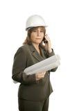 βέβαιο θηλυκό κινητών τηλεφώνων αρχιτεκτόνων Στοκ Εικόνες