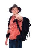 Βέβαιο backpacker που δείχνει σε σας Στοκ εικόνα με δικαίωμα ελεύθερης χρήσης