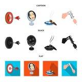 Βέλη παιχνιδιών, αντανάκλαση και άλλο εικονίδιο Ιστού στα κινούμενα σχέδια, μαύρο, επίπεδο ύφος Πούρο, ashtray, εικονίδια παχυμετ Στοκ Εικόνες