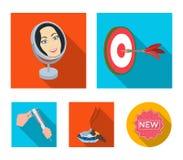 Βέλη παιχνιδιών, αντανάκλαση στον καθρέφτη και άλλο εικονίδιο Ιστού στο επίπεδο ύφος Πούρο ashtray, παχυμετρικοί διαβήτες στα εικ Στοκ φωτογραφία με δικαίωμα ελεύθερης χρήσης