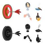 Βέλη παιχνιδιών, αντανάκλαση στον καθρέφτη και άλλο εικονίδιο Ιστού στα κινούμενα σχέδια, μαύρο ύφος Πούρο ashtray, παχυμετρικοί  Στοκ εικόνες με δικαίωμα ελεύθερης χρήσης