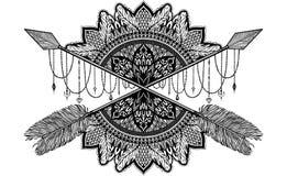 Βέλος που διασχίζει το φυλακτό σε ηθικό και το mandala στη δερματοστιξία ύφους Μαύρο χρώμα γραφικό στο άσπρο υπόβαθρο απεικόνιση αποθεμάτων